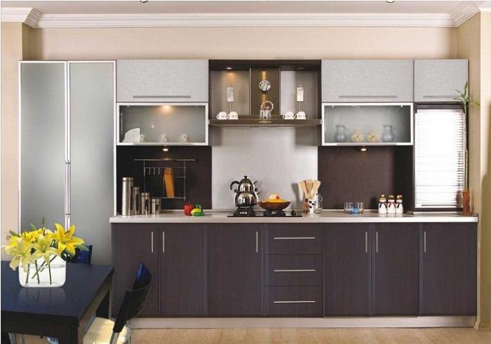 Tủ bếp gỗ mfc thiết kế theo phong cách hiện đại của châu Âu