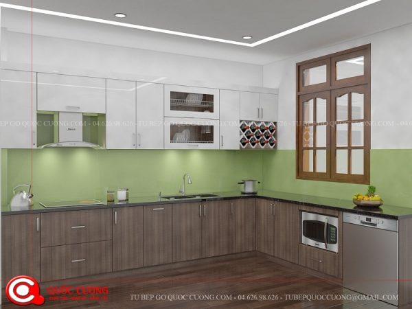 Tủ bếp gỗ Laminate Inox 304 L15