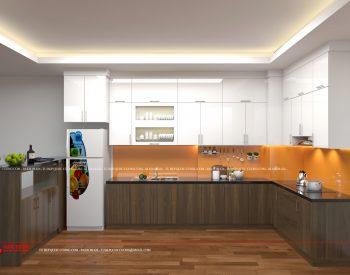 Tủ bếp Acrylic AR 28 Mặt bàn bếp làm bằng đá Granite màu đen huyền thoại rất sang trọng có độ cứng, độ bền cao và rất dễ lau chùi khi sử dụng.