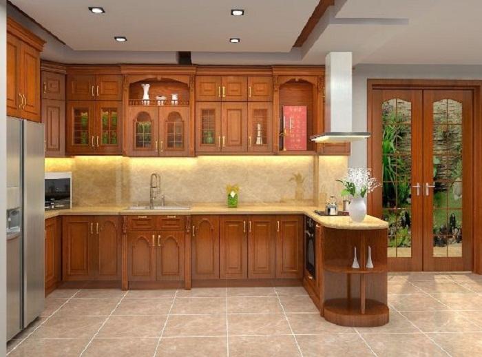 Những mẫu tủ bếp gỗ căm xe đẹp đáng để bạn quan tâm