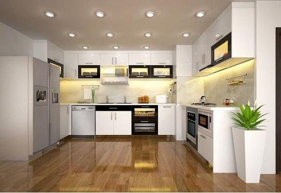 Sản xuất tủ bếp đẹp chữ U kiểu dáng hiện đại từ gỗ công nghiệp