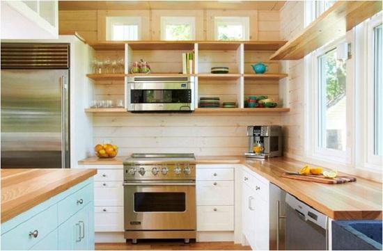 Thiết kế tủ bếp đẹp với kiểu kệ mở