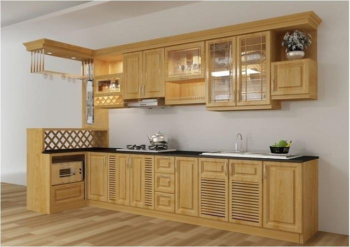 Màu sắc của tủ bếp gỗ xoan đào có hai màu trắng và đỏ