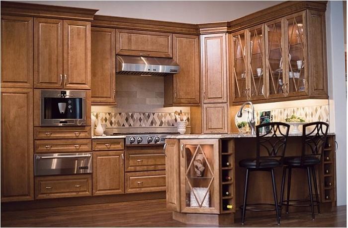 Tủ bếp gỗ Dỗi hợp với các kiểu tủ bếp tân cổ điển và cổ điển