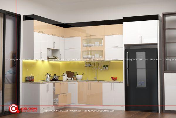 Thiết kế tủ bếp Acrylic AR29 có kích thước tiêu chuẩn với phần tủ bếp