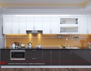 Hệ thống phụ kiện của mẫu tủ bếp AR 30 gồm có kệ gia vị, kệ chén bát, chậu rửa, giá inox đa năng, thiết bị hút mùi, lò nướng, bếp từ nhập khẩu từ các thương hiệu như Blum, Malocca, EuroGold, Faster, Abber.