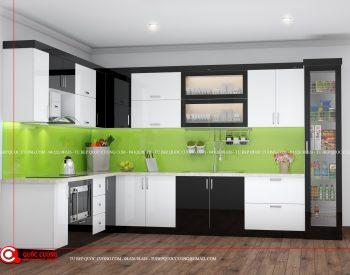 Mặt bàn bếp được ốp bằng đá Marble trắng vân vàng tạo tính thẩm mỹ cao và tinh tế cho căn bếp.