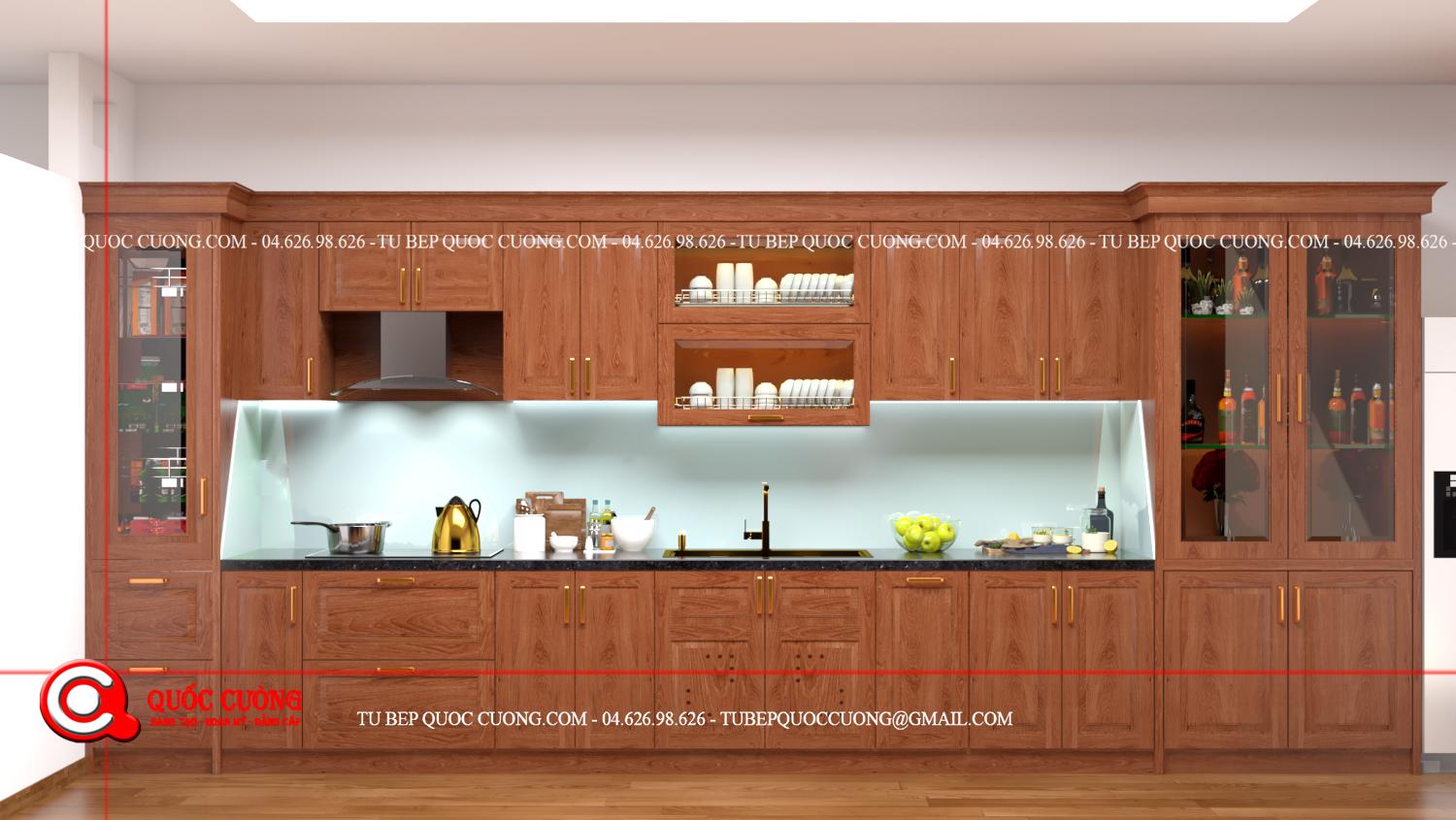 Tủ bếp xoan đào XD14 được làm bằng chất liệu gỗ tự nhiên thân thiện với môi trường có thiết kế khá chắc chắn và bền đẹp.