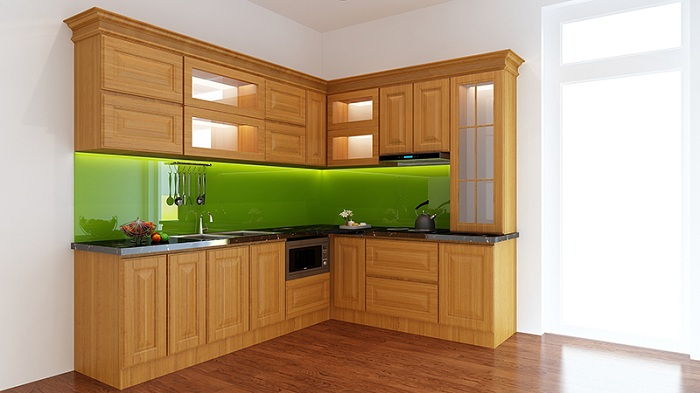 Màu tường làm điểm nhấn để không gian nhà bếp thêm nổi bật hơn