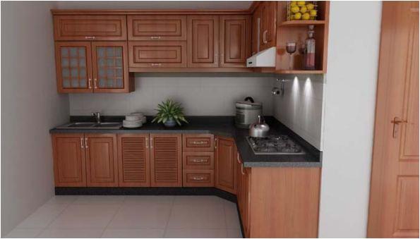 Tủ bếp gỗ căm xe đẹp sang trọng tự nhiên