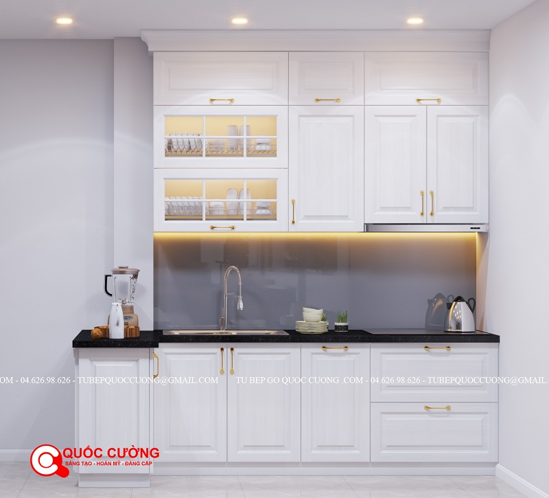 Mẫu tủ bếp gỗ sồi nga sơn trắng, màu sắc sang trọng, thiết kế tân cổ điển, khiến bạn khó có thể rời mắt