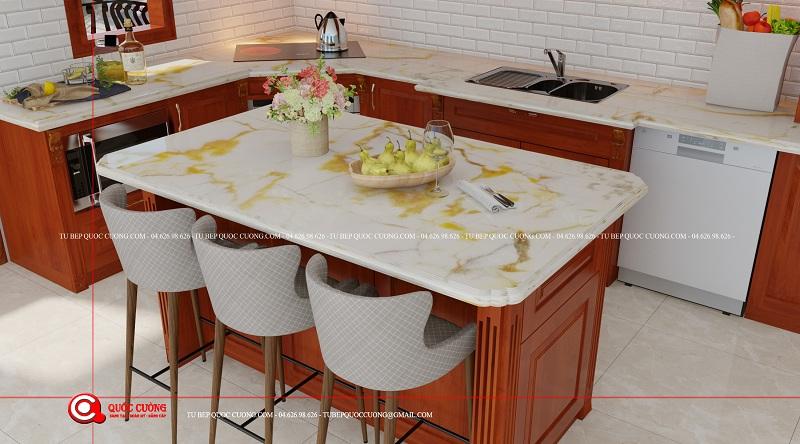 Thiết kế bàn đảo với tủ bếp gỗ Gỗ đỏ