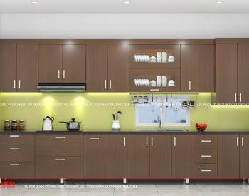 Tủ bếp gỗ MFC An Cường – MFCAC13 là mẫu tủ bếp gỗ công nghiệp cao cấp làm từ chất liệu thân thiện với môi trường và giúp hút bớt mùi thức ăn khó chịu khi nấu nướng.