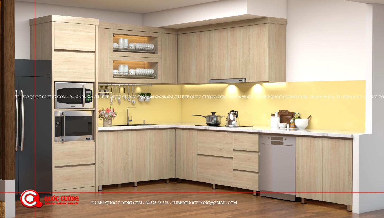 Tủ bếp gỗ MFC An Cường – MFCAC14 là mẫu tủ bếp gỗ công nghiệp cao cấp sử dụng chất liệu thân thiện với môi trường tạo cảm giác dễ chịu, thoải mái cho người dung mỗi khi bước vào căn bếp hay nấu nướng thức ăn.