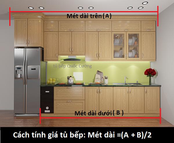 cách tính ra giá gỗ để làm tủ bếp