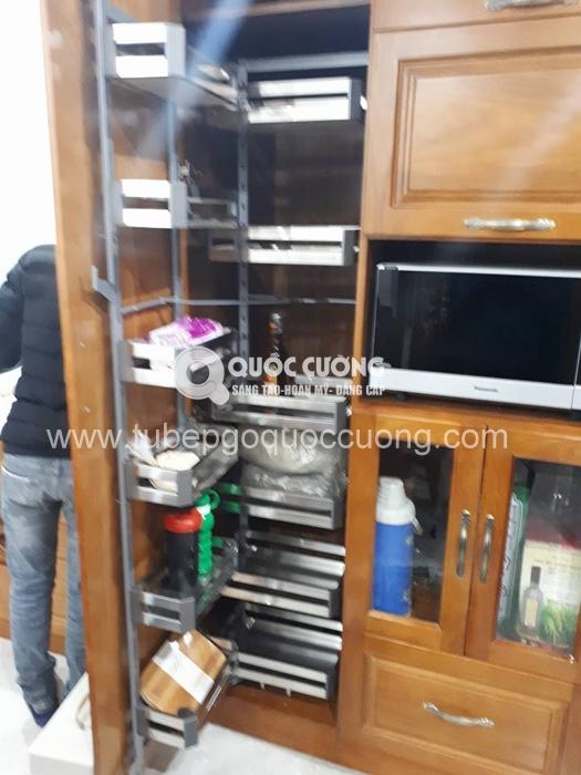 Công trình 16: Tủ bếp gỗ xoan đào inox 201