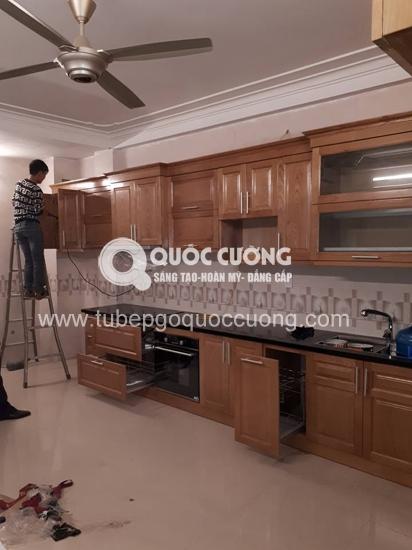 Tủ bếp gỗ Xoan đào inox 304 giá 70 triệu