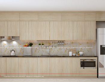Tủ bếp AR 48 được đóng kịch trần, tận dụng tối đa chiều cao căn phòng. Tủ bếp dáng chữ I, đặt sát tường rất hiện đại. Hệ thống các ngăn tủ phân bố đẹp mắt, đều nhau. Cuối tủ có thiết kế khu vực để tủ lạnh rộng rãi.