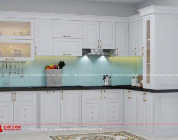 Tủ bếp Sồi Nga Sơn Trắng - SNT05