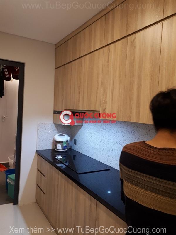 Côn trình 35: Tủ bếp nhựa picomat - cánh Laminate thiết kế chữ I