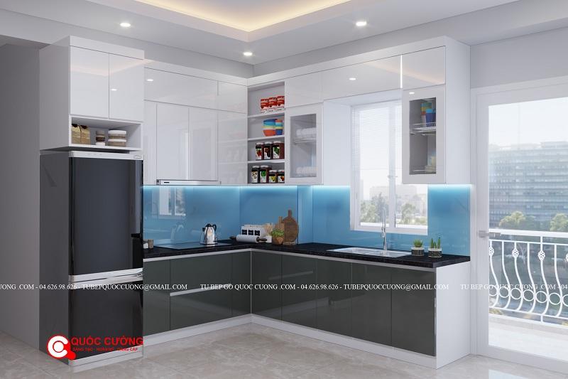 Mẫu thiết kế 3d tủ bếp nhựa cho công trình Hà Nội