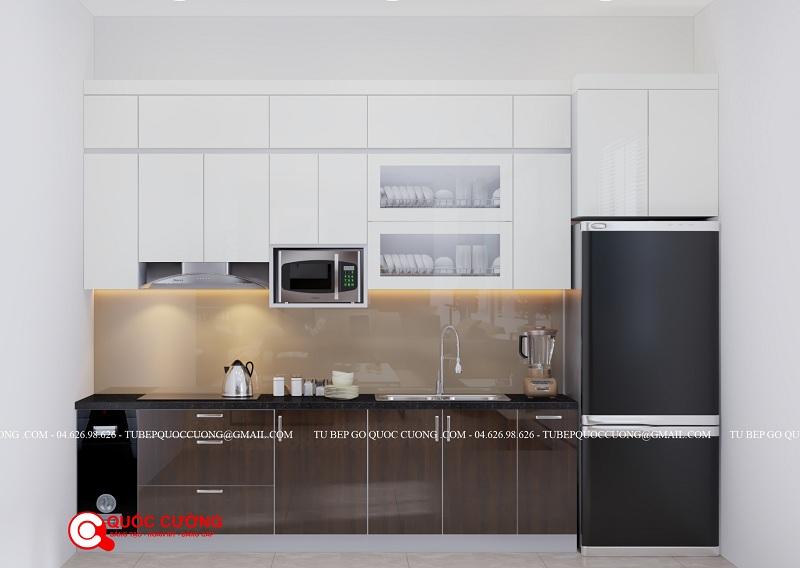 Mẫu tủ bếp nhựa Acrylic cao cấp