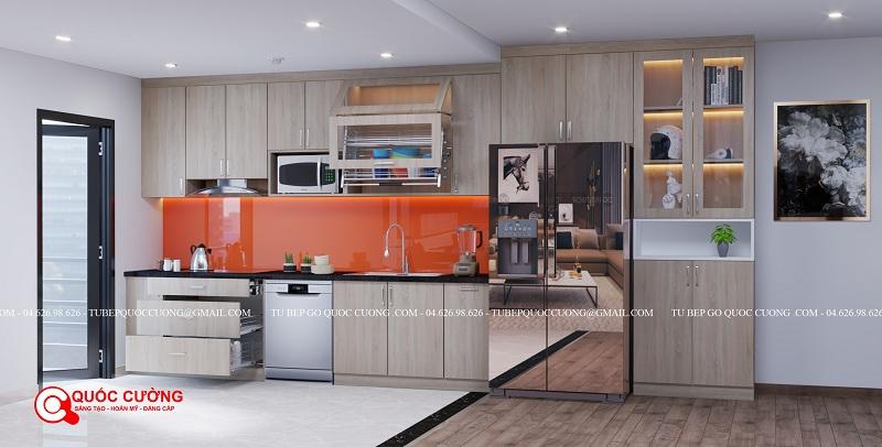 Mẫu demo 3d thiết kế tủ bếp nhựa Laminate cho khách hàng tại Hà Nội