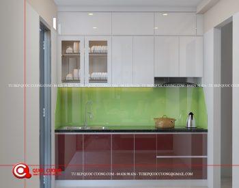 Tủ bếp Acrylic – AR51 Mẫu tủ bếp cho phòng bếp chung cư giá rẻ