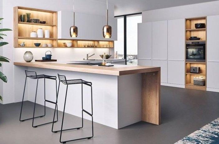 tủ bếp bàn đảo bếp bằng gỗ thiết kế thông minh