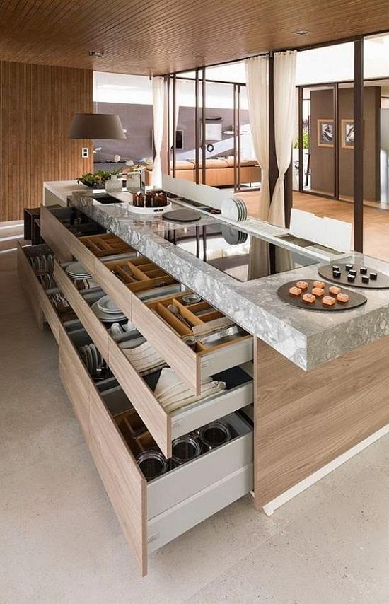 tủ bếp có bàn đảo chân bếp đảo làm kệ để đồ tiện dụng