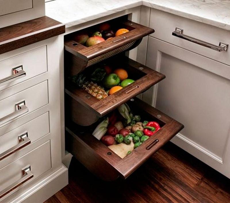 Tủ bếp thiết kế phụ kiện thông minh tăng tính thẩm mỹ