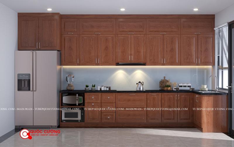 Tủ bếp gỗ xoan đào chữ L thiết kế thông minh