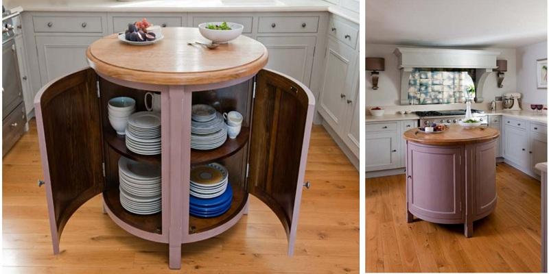 tủ bếp thông minh có thiết kế bàn đảo nhỏ